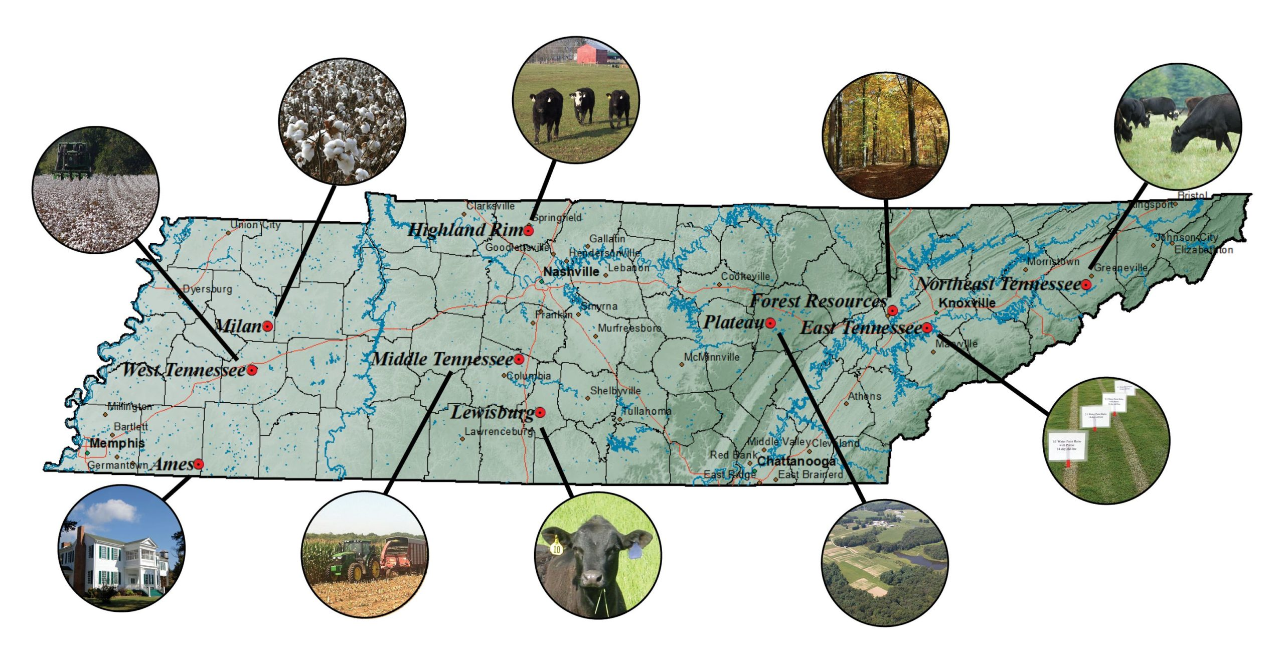 AgResearch and Education Center Location Map with Image Callouts